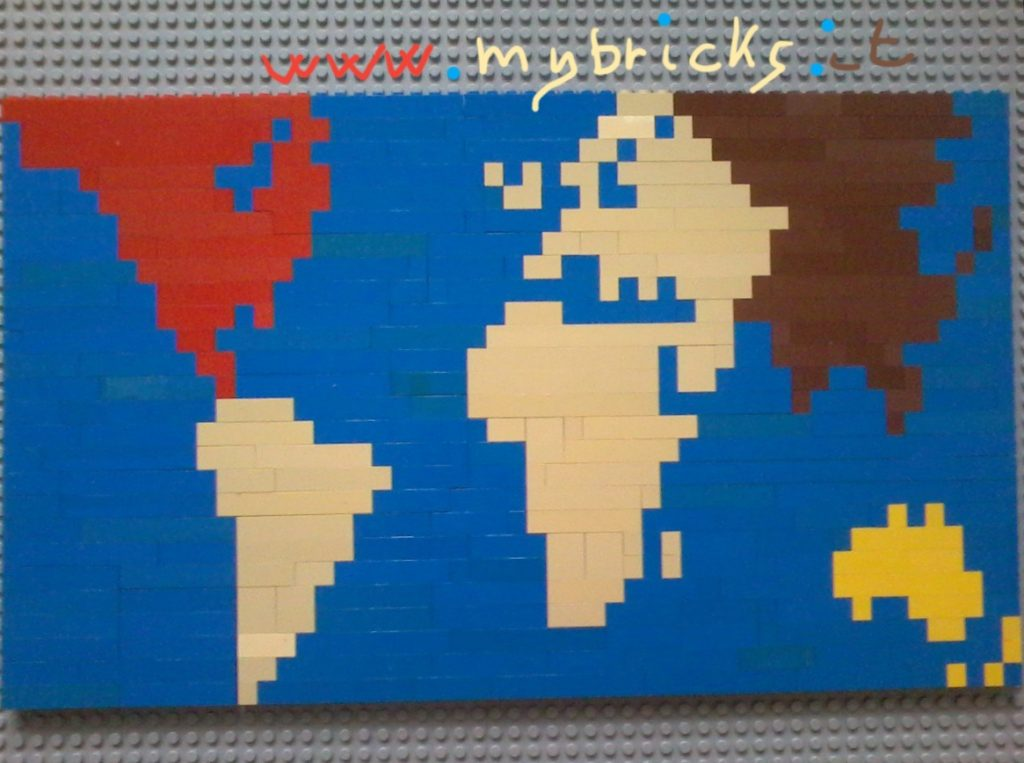 Lego World In My fantasy, Our World looks like Pinocchio! If You rotate 90 degrees on The left You Can imagine Pinocchio profile: - North America is The Red dress - South America is The Wooden Hand - Africa and Europe are The Wooden Face (with Pinocchio looooong nose!) - Russia and Asia is the Hair