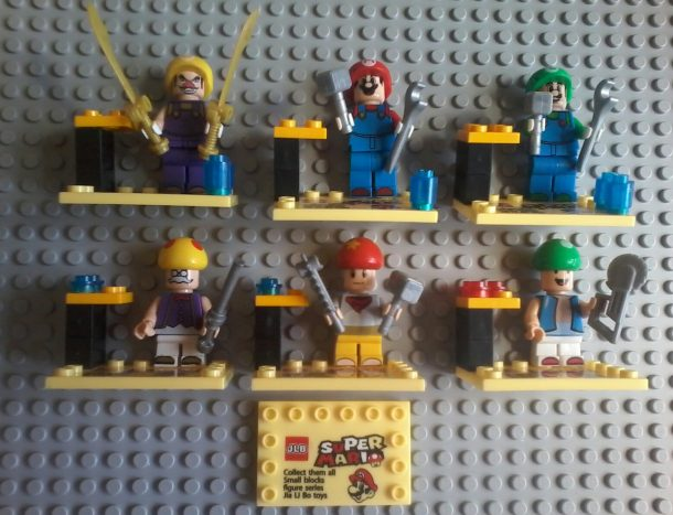 Lego compatible - JLB - Super Mario Bros Collectibles Wario - Mario - Luigi Toadsworth - Toad - 1 Up