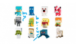 Lego size - Mattel - Minecraft collectible series 3 Steve? Diamond armour - A code Squid - B code Ghast - C code Mooshroom - D code Wither skeleton - E code Zombie in flames - F code Blaze - G code Alex - H code Zombie iron armour - I code Steve? On minecart - J code Cave spider - K code Skeleton horse - L code