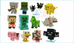 Lego size - Mattel - Minecraft collectible series 2 Steve? Iron armour - O Code Zombie - P Code Bats - S Code Ocelet - N Code Steve? TNT - U Code Electrified - Q Code Undead horse - W Code Sitting wolf - X Code Saddled pig - V Code Chichen - M Code Zombie pigman - R Code Wither - T Code