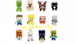 Lego size - Mattel - Minecraft collectible series 1 Creeper - B code Iron Golem - H code Cow - G code Cat - L code Steve? - A code Steve? Gold armour - E code Dyed sheep - I code Skeleton - C code Snow golem - F code Horse - K code Enderman - D code Zombie villager - J code