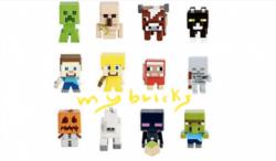 Lego size - Mattel - Minecraft collectible series 1 Creeper - B code Iron Golem - H code Cow - G code Cat - L code Steve? - A code Steve? Gold armour - E code Dyed sheep - I code Skeleton - C code Snow golem - F code Horse - K code Enderman - D code Zombie villager - J code