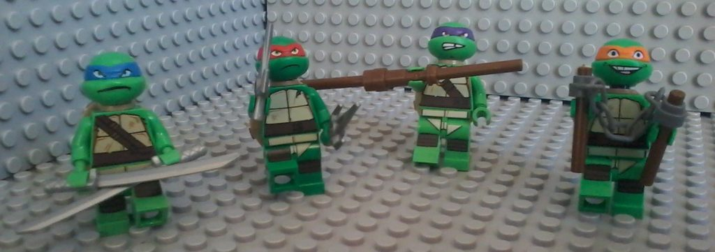 Ninja Turtles - Leonardo Raffaello Donatello Michelangelo  Leonardo (blue) Raffaello (red) Donatello (purple) Michelangelo (orange)