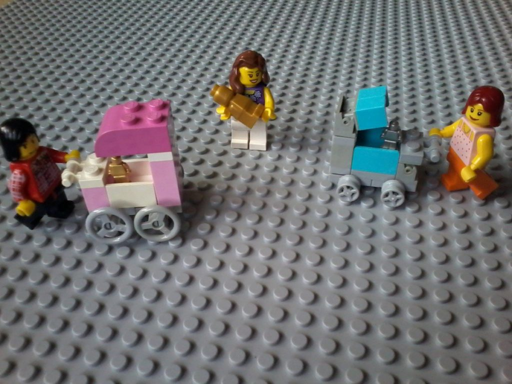 Lego baby pram - Lovely babies: microfigs and trophy-figs!