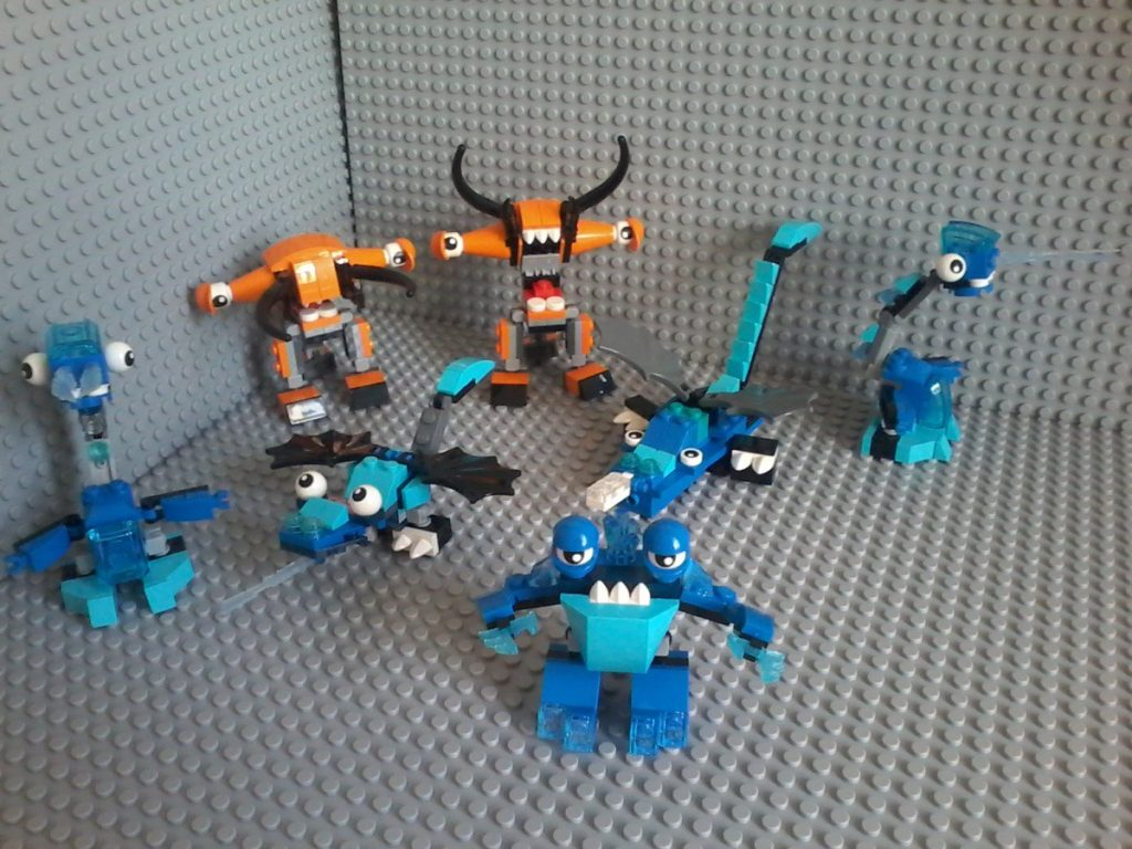 Lego Mixels Series 2 BALK (orange) LUNK SLUMBO FLURR (blue)
