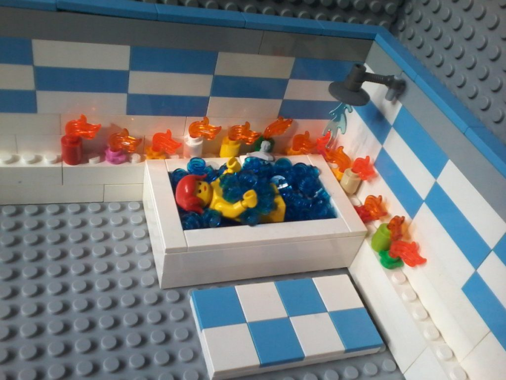 Lego Relaxing Bath Take time and relax yourself! Dedicate 30 minutes to yourself. Arrange some candles for a soft light; a warm bath improve your health and feel better about yourself!