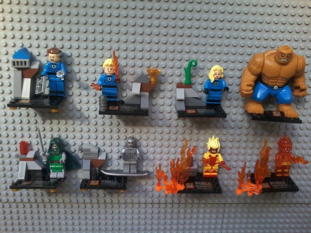 Lego compatible - Sheng Yuan - Fantastic Four Collectible Series  Mr.Fantastic Human Torch - Torcia Umana Invisibile Women - La donna Invisibile The Thing - La Cosa  Doctor Doom Silver Surfer Pyro Flaming Red Human Torch
