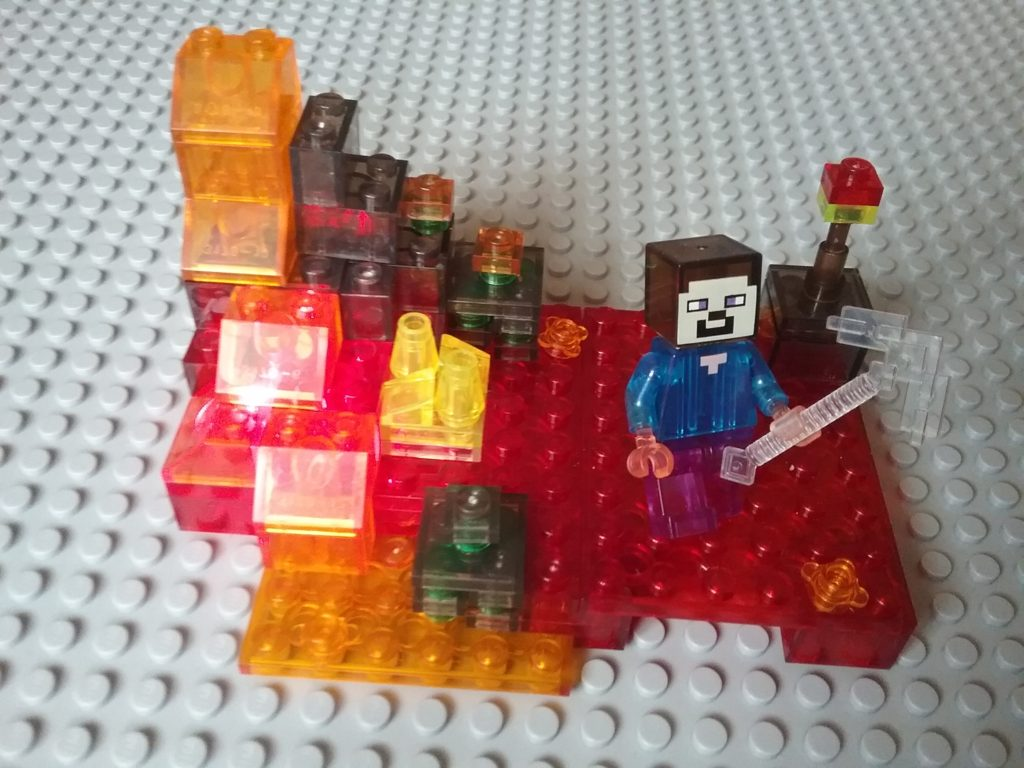 Lego compatible - My World - Minecraft Nether Crystals version 79272 Steve with crystal pickaxe Lighting brick included!