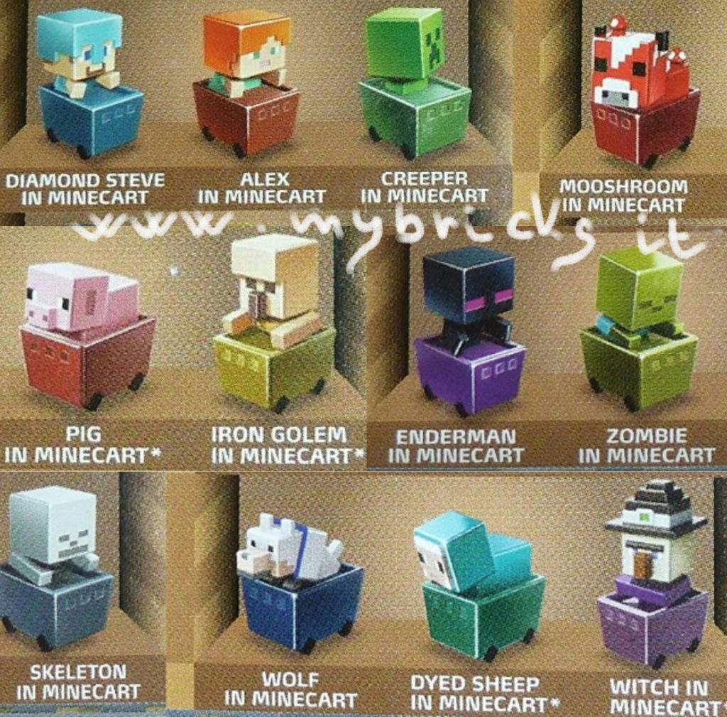 Lego size – Mattel – Minecraft collectible series 7 Minecart Steve - code A Alex - code B Creeper - code C Mooshroom - code I Pig - code F Iron Golem - code J Enderman - code D Zombie - code E Skeleton - code K Wolf - code G Sheep - code L Witch - code H