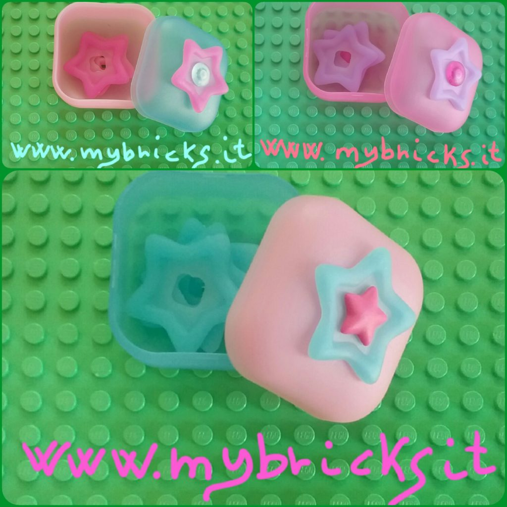 Lego Clickits Square container Box Star - 1 Hole Light pink (bottom) and Light blue (lid) - Lego Clickits Magente flexy film, Star 4x4 with raised border - Lego Clickits Transparent Acqua icon, Round 2x2 thin with pin Lego Clickits Square container Box Star - 1 Hole Pink (bottom) and Pink (lid) - Lego Clickits Lavender flexy film, Star 4x4 with raised border - Lego Clickits Transparent Magenta icon, Round 2x2 thin with pin Lego Clickits Square container Box Star - 1 Hole Light blue (bottom) and Light pink (lid) - Lego Clickits light blue flexy film, Star 4x4 with raised border - Lego Clickits Magenta icon, Star 2x2 thin with pin