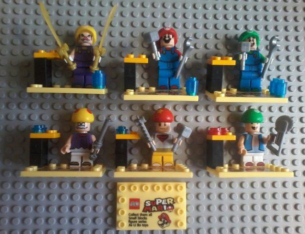 Lego compatible - JLB - Super Mario Bros Collectibles Wario - Mario - Luigi Toadsworth - Toad - 1 Up