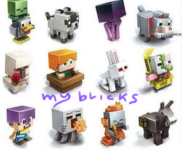 Lego size - Mattel - Minecraft collectible series 5 Ice Chicken zombie - G code Siamese cat - J code Teleporting endy - H code Wolf with bone - K code Iron golem - D code Alex with boat - F code Killer rabbit - E code Spawning Z pigman - A code Steve mismatched armour - C code Attacking Ghast - B code Skeleton in flames - L code Donkey - I code